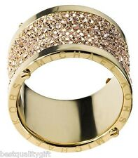 NEW-MICHAEL KORS GOLD TONE S/STEEL PAVE CRYSTAL LOGO BARREL RING SZ:7,8 MKJ1910