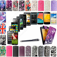 For LG Mobile Phones Stylish Printed PU Leather Magnetic Flip Case Cover +Stylus