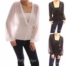 V Neck Semi Sheer Chiffon Bishop Long Sleeve Fitted Waist Pullover Blouse
