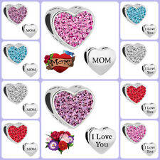 Pugster Love Mom Heart Crystal Charm European Bead Charms Bracelet Mother's Day