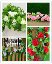 Artificial Fake Silk Rose Flower Ivy Vine Hanging Garland Home floral Decor ONE
