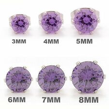 Stainless Steel Round Sparkling Clear Cubic Zirconia Stud Earrings Set