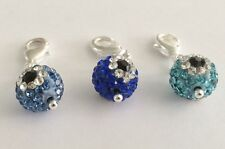 SPARKLY SHAMBALLA EVIL EYE  10mm CRYSTAL CLIP ON CHARM FOR BRACELET-3 COLORS