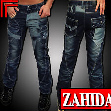 Daymen Jeans Denim Men's Designer Trousers Denim Cargo Style Blue Washed