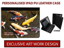 PERSONALISED KOI CARP FISH POND FISHING IPAD MINI AIR LEATHER CASE