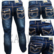 Zahida Men Jeans Pants Used-denim-look Cargo Thickness Seam Clubwear W30-w38 New