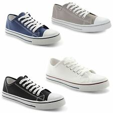 New Mens Flat Casual Lace Up Canvas Trainers Plimsolls Plims Pumps UK Sizes 7-12