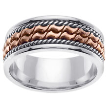 14K Two Tone White Rose Gold Two Row Hand Crafted Wedding Band 8mm (WJRL04414)