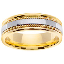 14K Two Tone Gold Rope Braid Hand Crafted Wedding band 7mm (WJRL05354)