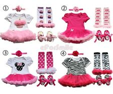4pcs Newborn Infant Baby Girls Headband+Romper+Leg Warmers+Shoes Outfit Clothes