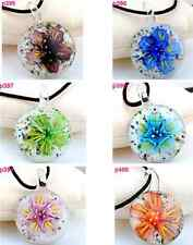 beauty round flower elegant lampwork Murano glass beaded pendant necklace P395