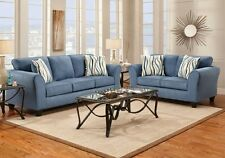 Patriot Blue Sofa Loveseat Living Room Furniture Set