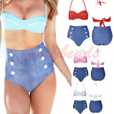 Sexy Women Retro Swimwear High Waisted Denim Bottom Polka Dots Push Up Bikini