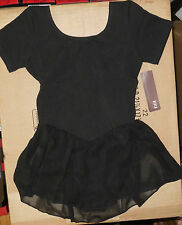 NWT BLOCH  BLACK SHORT SLEEVE BALLET DANCE DRESS  FULLY FRONT LINED CL5342