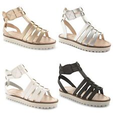New Girls Kids Ankle Strappy Slingback Velcro Open Toe Gladiator Sandals Shoes