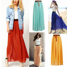 Women Popular Double Layer Chiffon Pleated Long Maxi Dress Elastic Waist Skirt