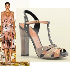 $895 GUCCI SHOES JACQUELYNE STUDDED STRAPPY SUEDE SANDALS BEIGE /PEACH /GRAY