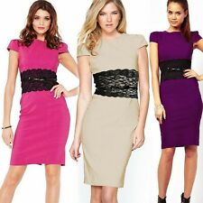 Trendy OL Floral Lace Womens Wear To Work Formal Wiggle Pencil Dress Zipper Belt