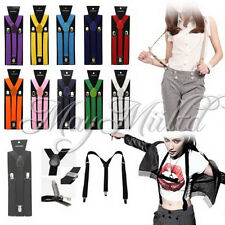 17 Colors Braces Suspenders Adjustable Unisex Neon UV Dress & Plain Y Back G