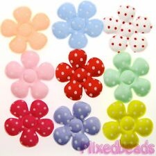 "*U PICK* 90-100 Satin Polka Dot Flower 1 3/8"" applique padded fabric hair craft"