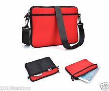 "Shoulder Messenger Sleeve Bag Pouch Case Cover for 8"" 9"" 10"" Smart Tablet - Red"