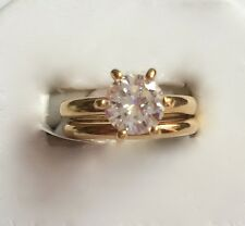 Classic Wedding Set CZ Gold Solitaire Rings Bands Womens Size 8 9 10 USA Seller
