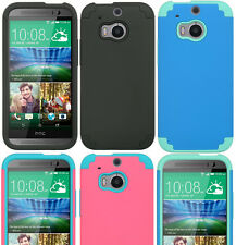 For HTC ONE M8 / ONE 2 - DUAL LAYER Hybrid Hard & Soft Rubber Skin Case Cover