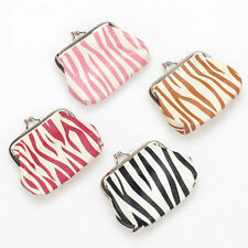 1X Lady's Zebra-stripe Print PU Leather Mini Coin Purse Wallet Change Purse Bag