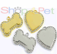 Pet ID Tag, Premium Quality Diamante Heart or Bone Tags with ENGRAVING Options