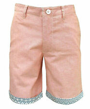 Soul Star Oxford Men's Turn Up Aztec Trim Casual Cotton Shorts rust pink 2183