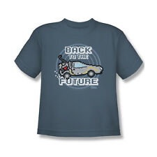 Back To The Future 8-Bit Future T-Shirt Youth Boy Girl Slate Gray S M L Xl