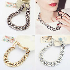 SHINY LINK ID CELEBRITY STYLE CHOKER CHUNKY CURB CHAIN NECKLACE GOLDEN/SILVER