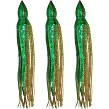"5.5"" to 8.5"" Octopus Squid Replacement Skirt - Green & Gold Extreme Sparkle"