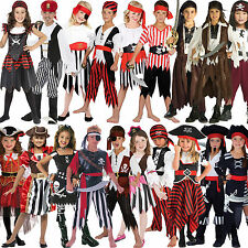 Childs Bucaneer Pirate Captain New Fancy Dress Costume Kids Jack Sparrow Outfit