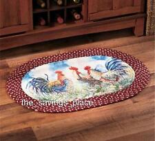 ADORABLE COUNTRY INSPIRED THEMED ROOSTER HORSES APPLES BRAIDED ACCENT RUG