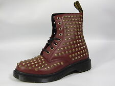 Dr Martens Womens 1460 Spike Applique Spike 8 eye Leather Boots Cherry Red