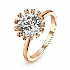 Stylish 18K Rose Gold GP Flower Clear Austrain CZ Crystals Cocktail Ring R532