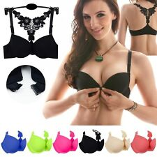 Sexy Womens Girls Front Closure Lace Racer Back Push Up Seamless Bra Racerback
