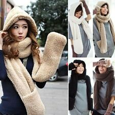 New Women Winter Warm Soft Plush Faux Fur Hooded Cap Hat Scarves Scarf Gloves