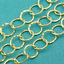 14k Gold Filled Bulk Chain 7.2mmx8mm Flat link With Fancy Texture By The Foot