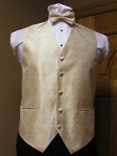 Vest Champagne Paisley Full Back Bow Tie Tuxedo Steampunk Wedding Western Groom