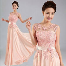 2014 New Chiffon Lace Evening Formal Party Ball Gown Prom Bridesmaid Long Dress