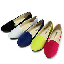 Women Lady Ballerina Ballet Dolly Suede Leather Flats Pumps Loafers Shoes
