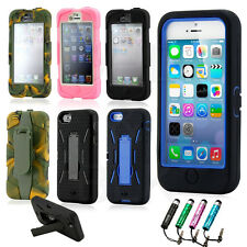 PC Shockproof Dirt Dust Proof Hard Matte Cover Case Stand For Apple iPhone 5 5S