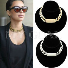 Shiny Bib Curb Statement Chunky Pendant Chain Bracelet Choker Necklace Bangle