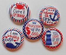 """Cute and Crabby Princess of the Sea Flatback  Pin Back Buttons 1"""" Embellishments"""
