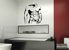 SEXY MUSCLE MAN SILHOUETTE VINYL WALL DECAL STICKER MURAL BATHROOM BEDROOM HOME