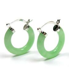 Natural Green Jade 925 Silver Click Hoop Earrings 25mm or 30mm