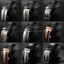 KS Luxury Men's Genuine Black Leather Automatic Steel Buckle Waist Strap Belts