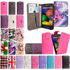 Printed Leather Magnetic Book Flip Luxury  Case Cover For Motorola Moto E+Stylus